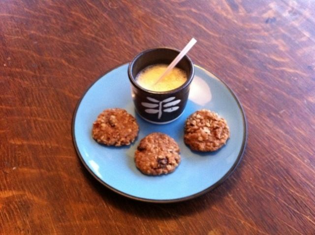 Vegan Oatmeal Cookies with warm almond milk make a perfect post-sledding snack for toddlers!