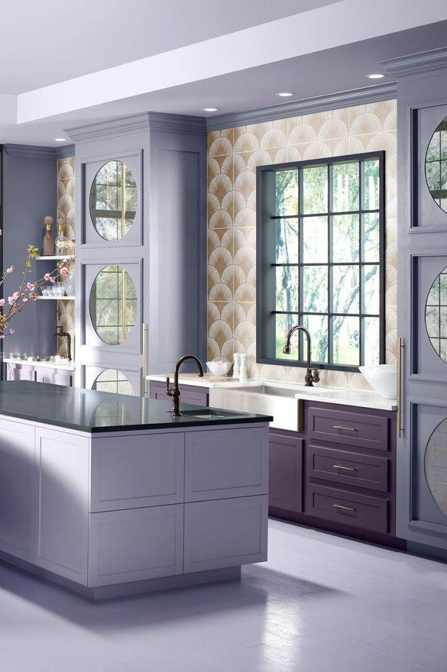 Eggplant And Lilac Kitchen Paint Color Ideas Kitchen Interior Design Modern Modern Kitchen Paint Interior Design Kitchen