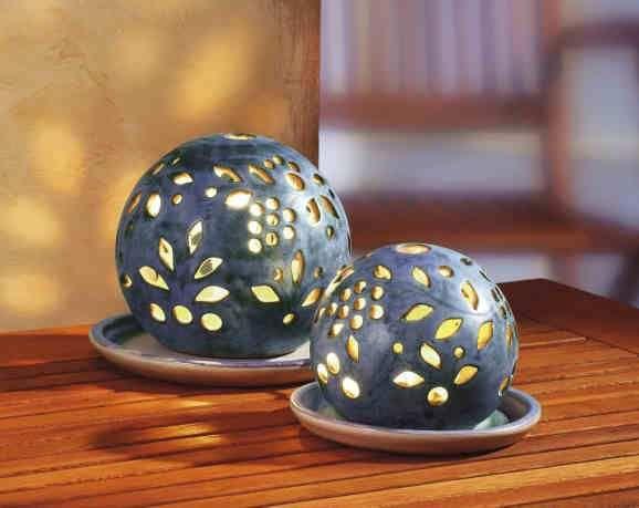 deko keramik lichtkugeln 2er set pottery pinterest lichtkugeln romantischer abend und. Black Bedroom Furniture Sets. Home Design Ideas