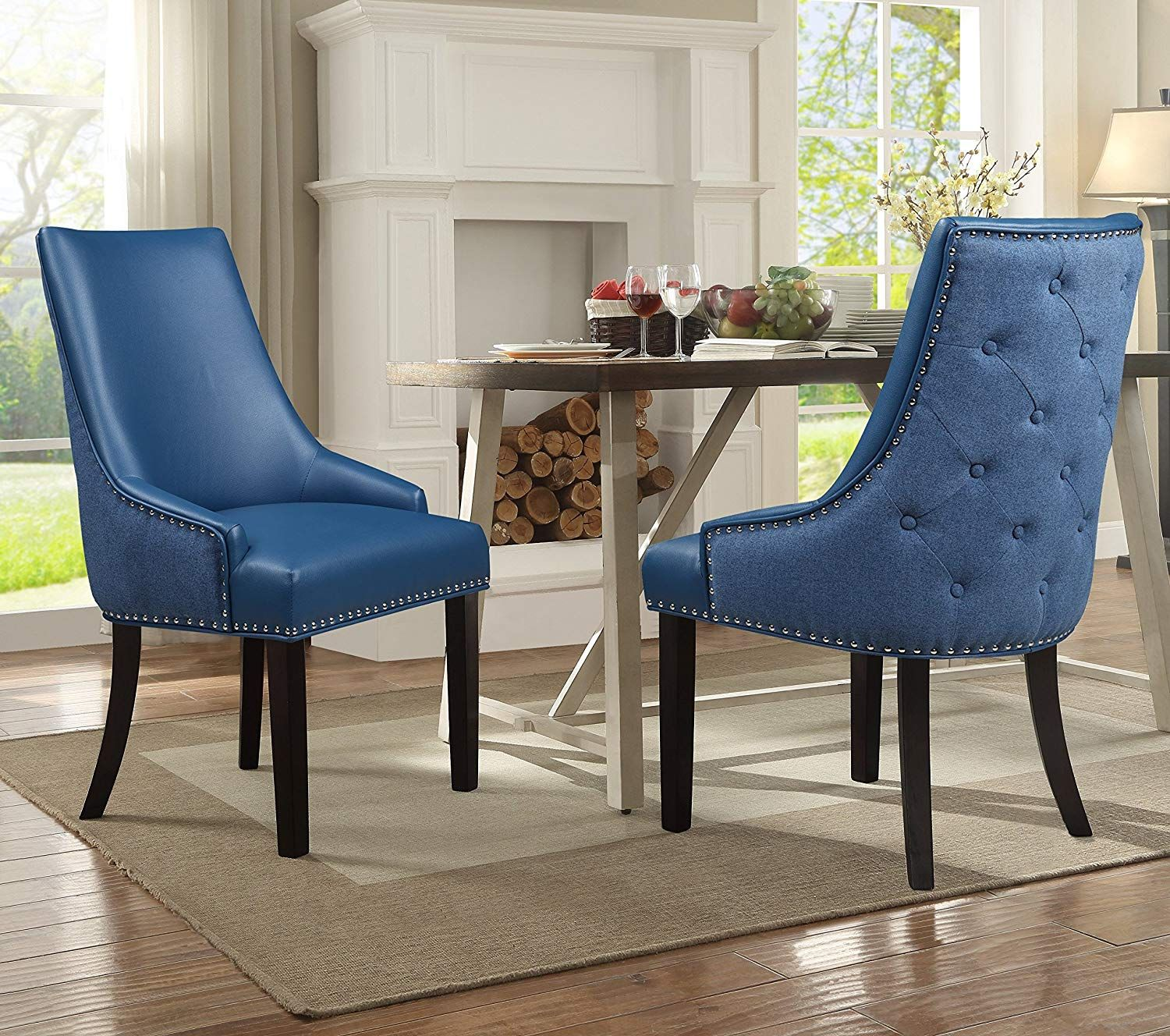 Iconic Home Brando Dining Side Accent Chair Pebble Grain Pu Leather Linen Upholstered Nailhead Trim T Dining Chair Upholstery Dining Chairs Linen Dining Chairs