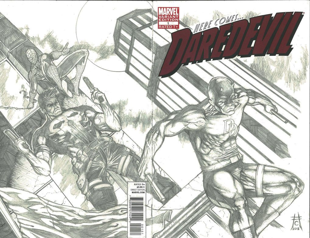 Daredevil#1 Sketch Variant Spread by ~icicle0