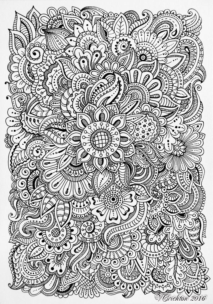 zen doodle coloring pages flower - photo#8