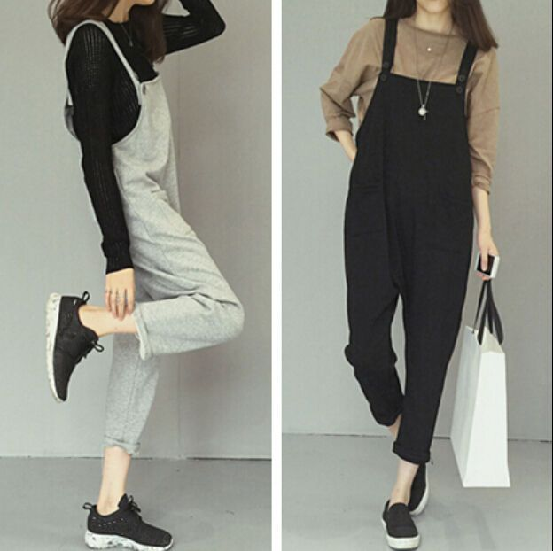 ad010823e4 Korean Womens Casual Loose Strappy Romper Overall Cotton Pants Dress  Jumpsuit