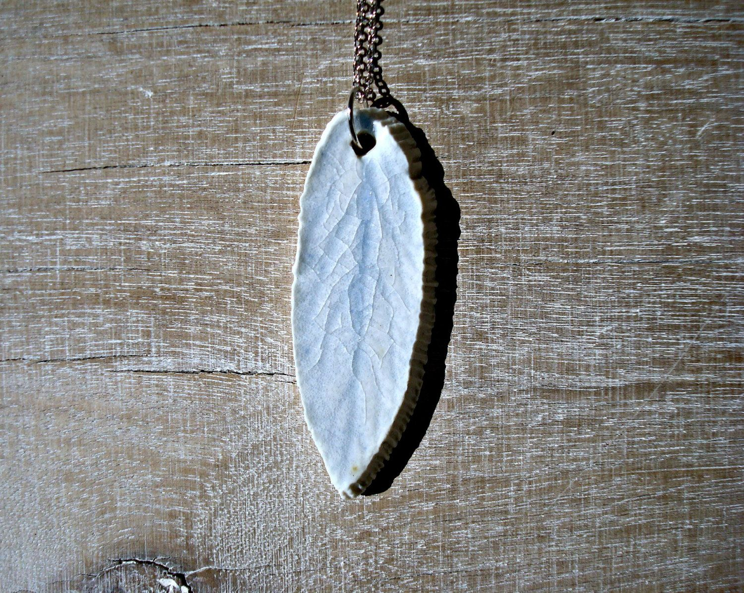 Minimalist blue necklace,  leaf necklace, feather necklace, ceramic necklace, layered necklace, silver and blue porcelain necklace,  - pinned by pin4etsy.com