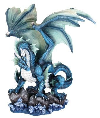 """Large 23/"""" Tall Blue Zirconia Rogue Storm Dragon Hovering Over Cliff Rock Wate..."""