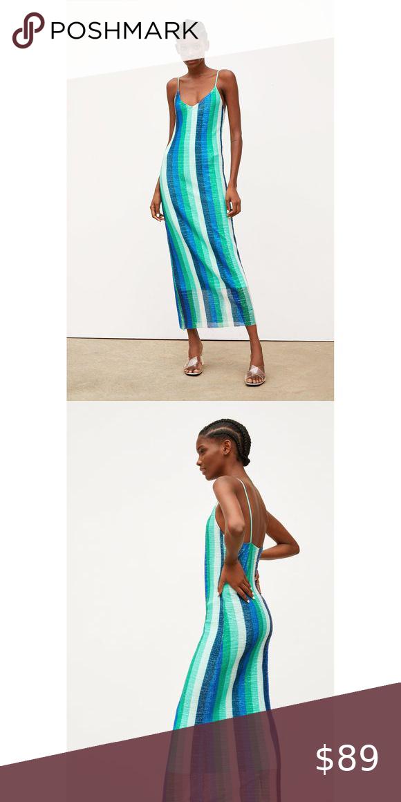 Zara medium blue sequin midi dress nwt in 2020 Sequin