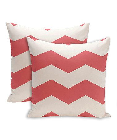 Look what I found on #zulily! Coral Chevron Throw Pillow - Set of Two #zulilyfinds