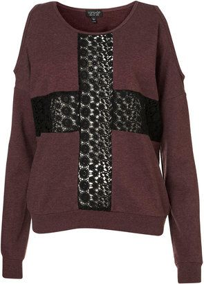 Lace Cross Open Shoulder Sweater from Topshop