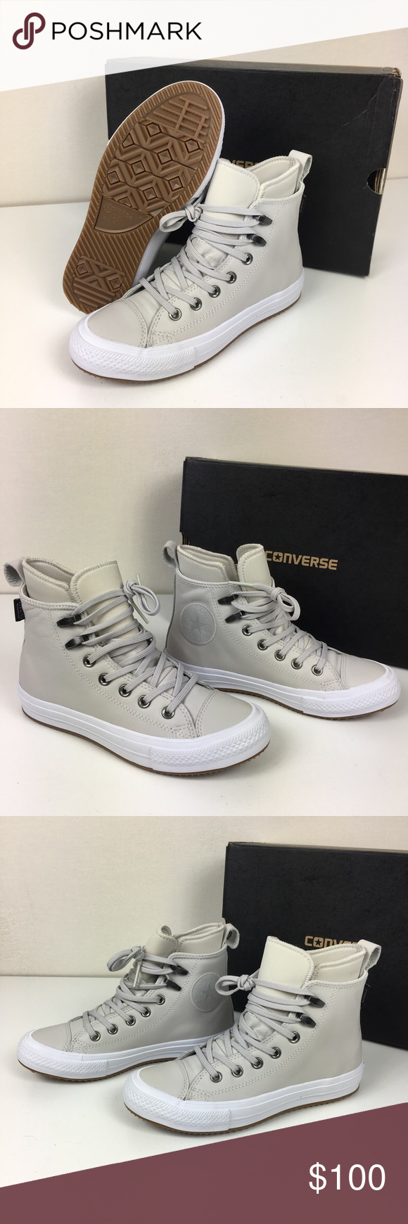 800a6de29bfc Converse CTAS Waterproof Hi Top Sneakers Converse Women s Chuck Taylor All  Star Waterproof Boot Hi Top Sneakers With Lunarlon Leather Upper Counter  Climate ...