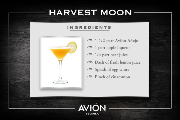 Avi n harvest moon tequila cocktail drinks recipe for Avion tequila drink recipes