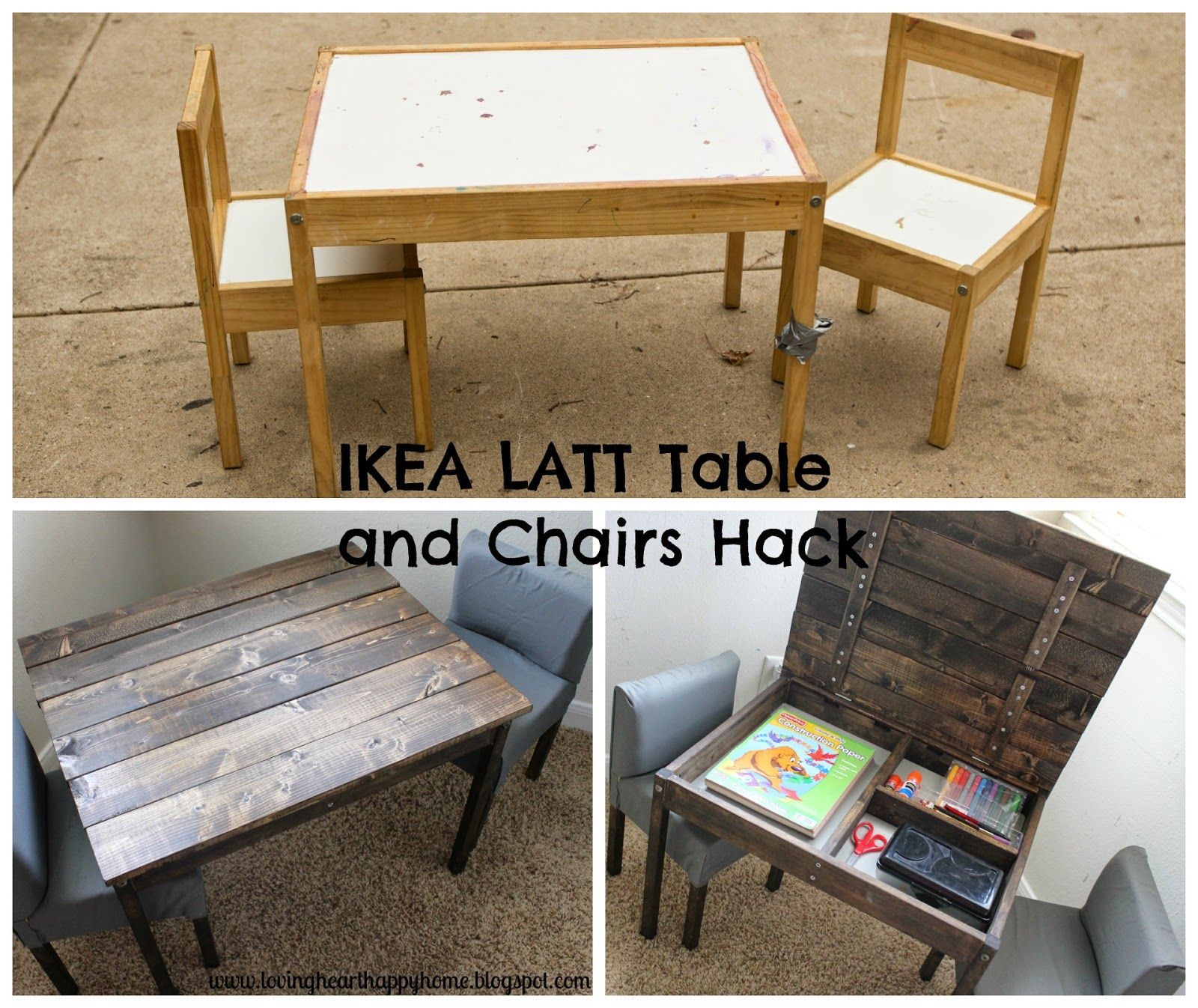 Ikea Hack Latt Table And Chairs Turned Storage Table Kids Table