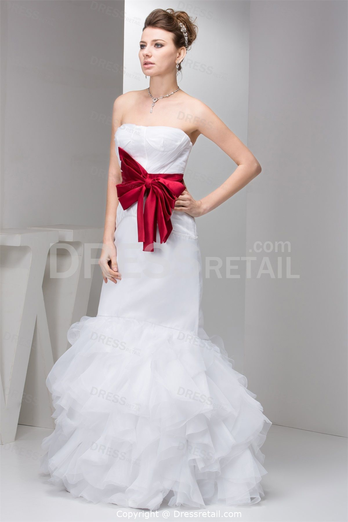 Wonderful white mermaid strapless summer wedding dress for Wedding dress with red belt