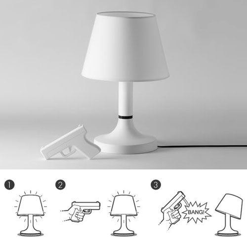 Beautiful Desk Lamp Controlled By A Gun Shaped Remote. BANG!