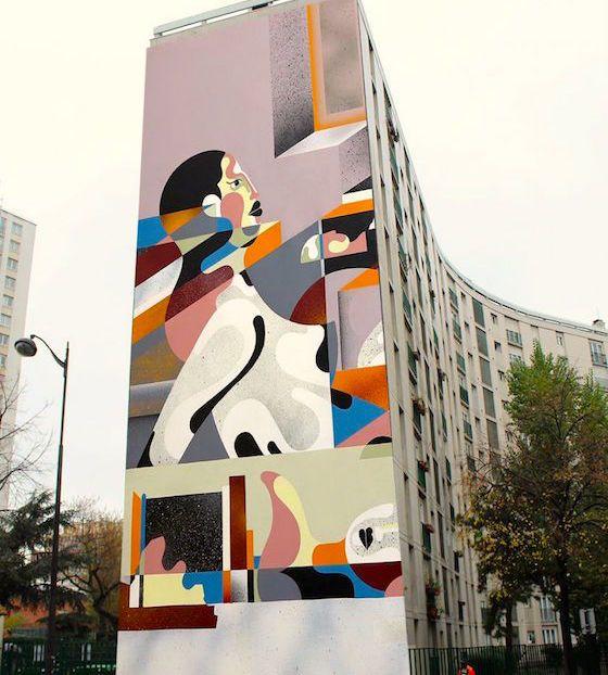 Street-art sur des immeubles du 13e arrondissement | street-artist Australien Reka réalisera à partir d'aujourd'hui son œuvre sur le mur pignon d'une résidence au 3, rue de Chevaleret.  En savoir plus sur https://www.lebonbon.fr/culture/fresques-geantes-sur-des-immeubles-du-13e-arrondissement/#EgOCEJt86TV5B16Q.99