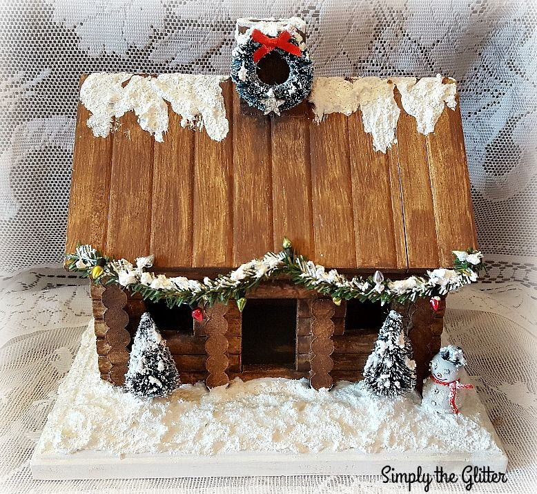 Vintage Inspired Putz House, Wood Log Cabin, Wooden Christmas Snow - wood christmas decorations