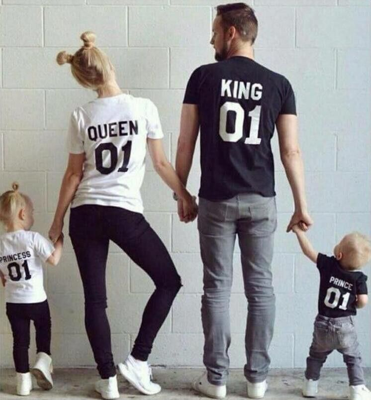 King Queen Prince Princess T-Shirt Set Kids Baby Grow Mens Womens Kids Childrens