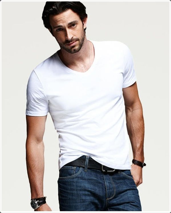 93d47d149e1b 40 Fashionably Approved V-Neck T-Shirts For Men to Try this Year. Plain  white ...