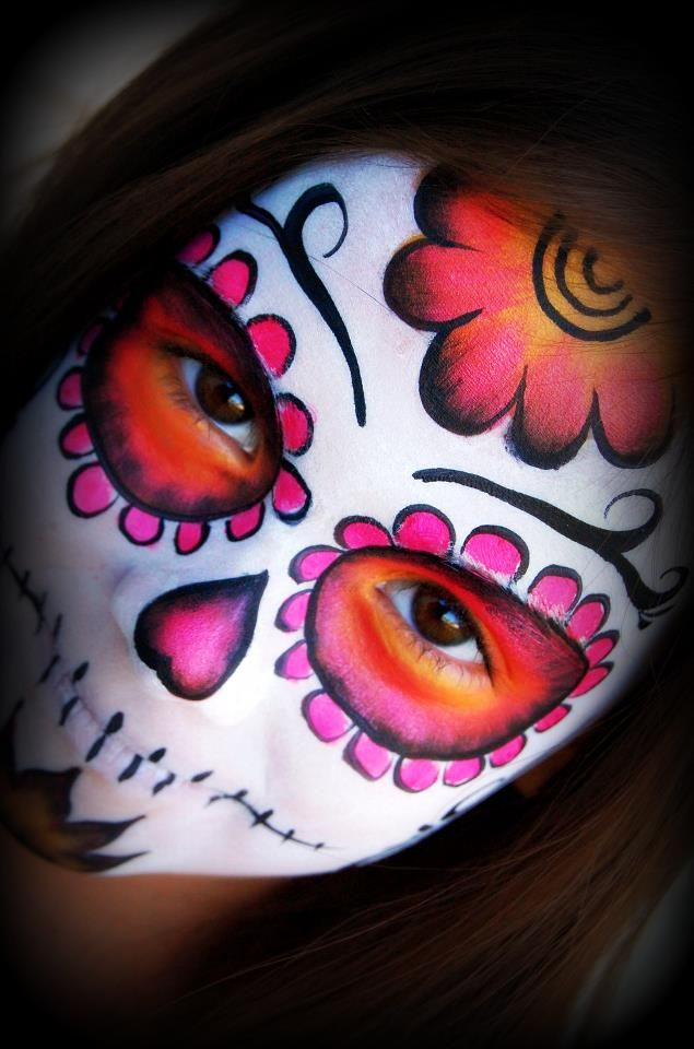 Candy Skull Face Paint : candy, skull, paint, Sugar, Skull, Painting, Pinterest, Face,, Halloween,, Paint