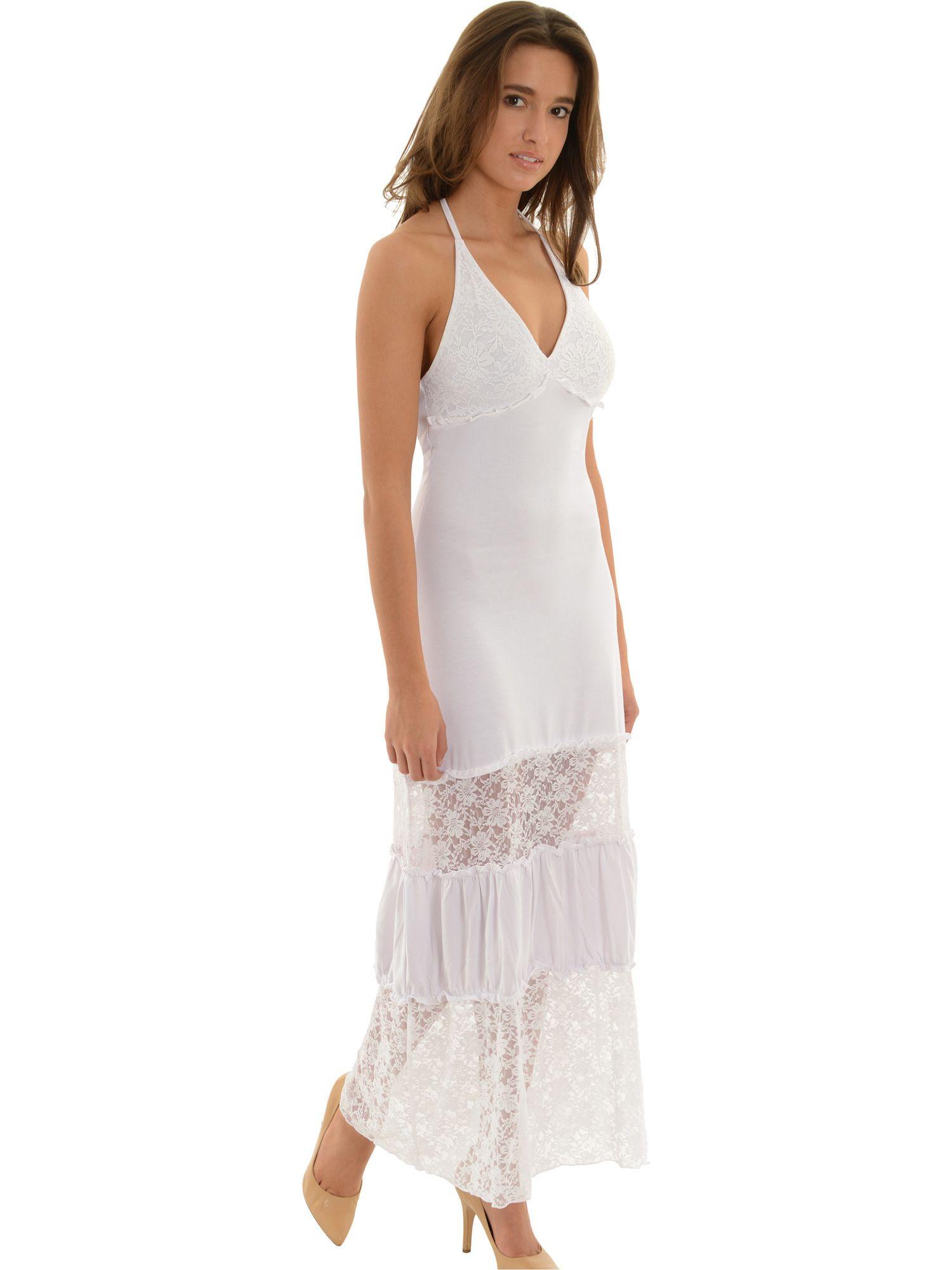 Zucan Womens White Maxi Dress Lace And Ruffle Detail Little White Dresses Walmart Com Womens White Maxi Dresses White Maxi Dresses White Lace Maxi Dress [ 2000 x 1500 Pixel ]