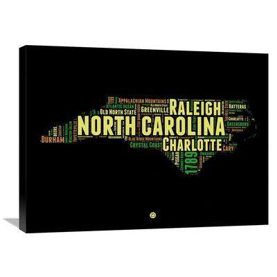 Naxart 'North Carolina Word Cloud 1' Textual Art on Wrapped Canvas Size: