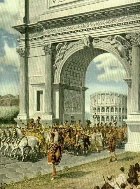 Procesion Triunfal En El Arco De Tito Por Los Romanos Tras Una