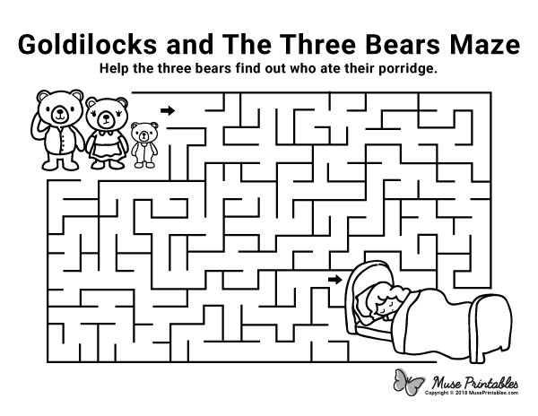 Free Printable Goldilocks And The Tree Bears Maze Download It At Https Museprintables Com Downl Goldilocks And The Three Bears Fairy Tales Kindergarten Maze