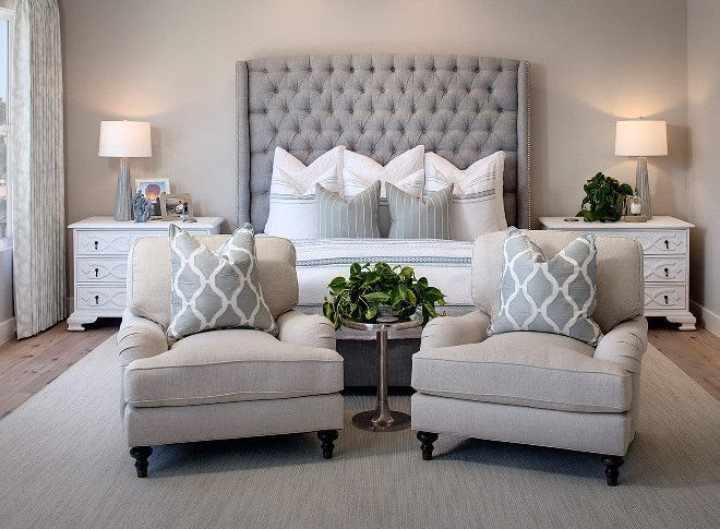 Tufted gray headboad with accent chairs | Bedroom ideas ...