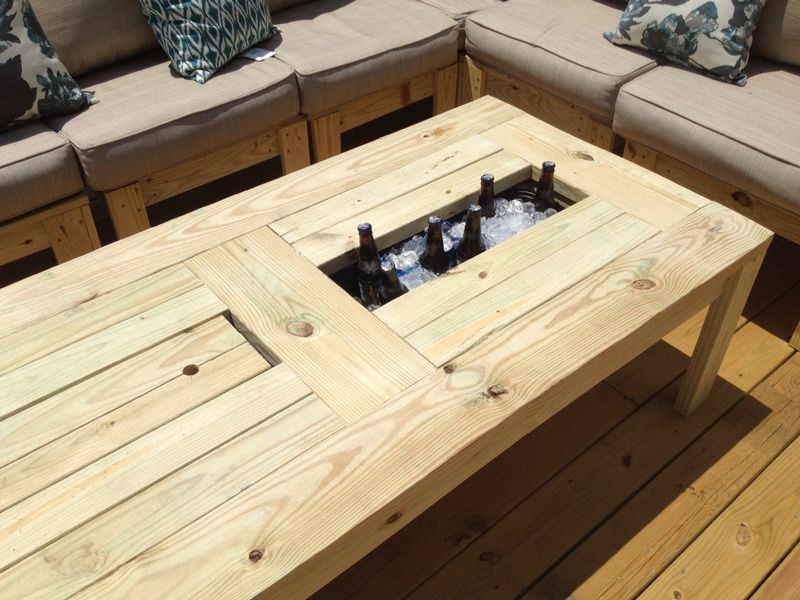 Table-with-Built-in-Beer-Cooler-02 - We really need one of these...awesome idea for a patio!