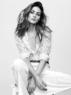 Olivia Palermo for French magazine Madame Figaro, wearing a Valentino Waffle piqué bib San Gallo lace shirt. #oliviapalermo #style