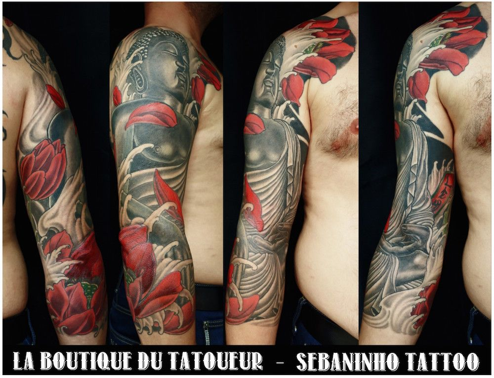 tatouage japonais d 39 un bouddha et pivoine sur bras homme sebaninho tattoo tatoo pinterest. Black Bedroom Furniture Sets. Home Design Ideas