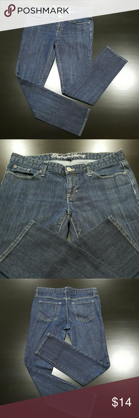 """Gap Jeans Premium Skinny dark wash denim. GAP JEANS Premium Skinny size 8r Excellent pre-owned condition! Measurements across the front while lying flat: Waist:  17"""", 34"""" doubled Front rise:  7.5"""" Inner inseam:  30"""" Outside leg seam: 38"""" Leg opening:  6"""" , 12"""" doubled GAP Jeans Skinny"""