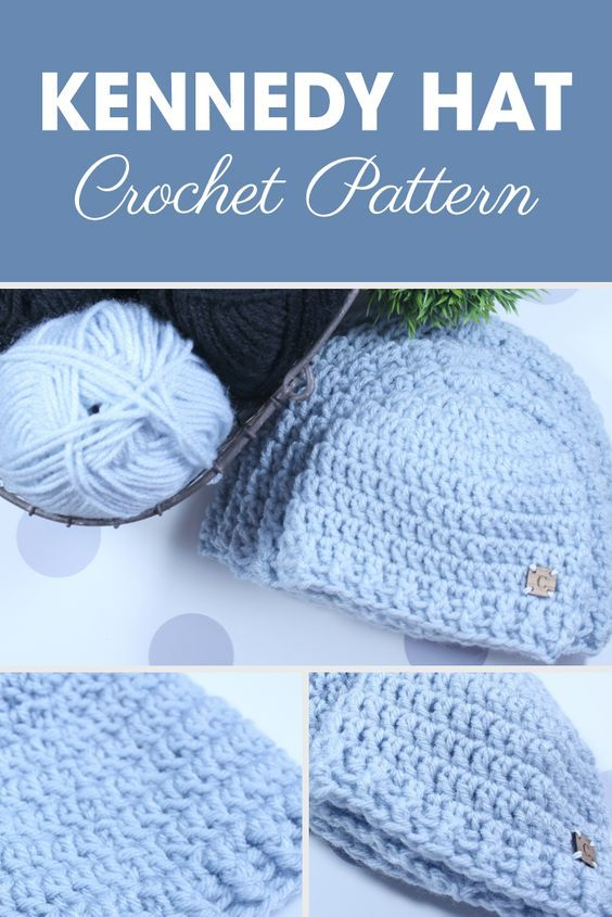 The Kennedy Hat is a simple crochet double crochet pattern made with ...