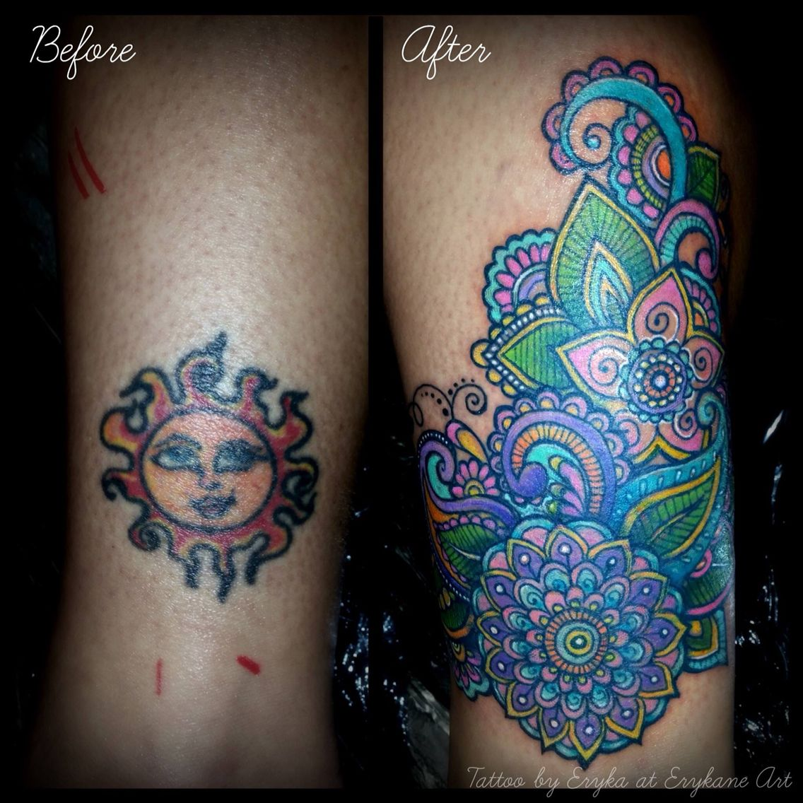Tattoo before & after coverup! Love this. The colors are