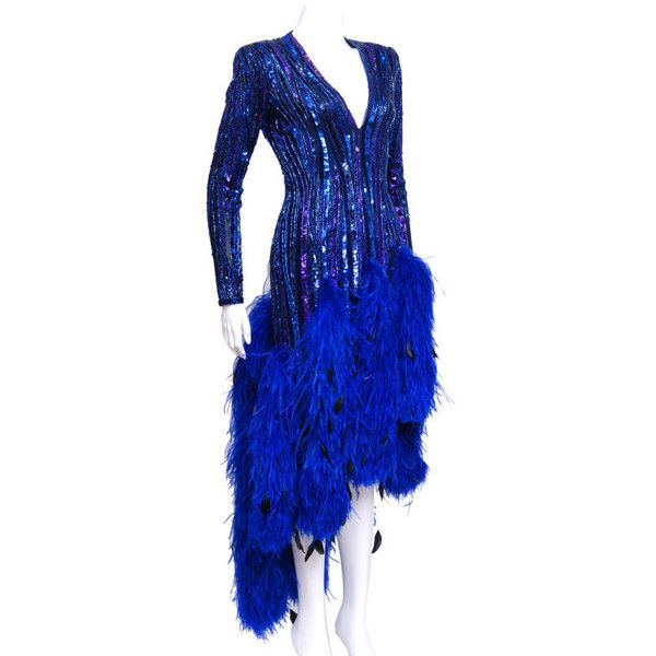 Preowned Bob Mackie Blue Sequin Feather Gown ($2,500) ❤ liked on ...
