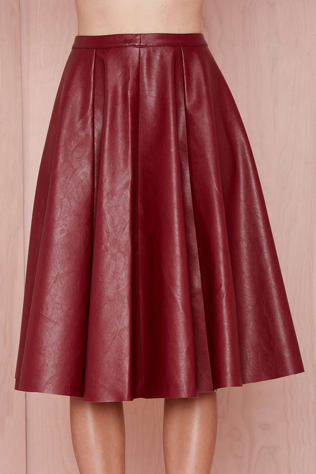 50df6540d Shop Wine Red PU Leather Pleated Skirt online. Sheinside offers Wine Red PU Leather  Pleated Skirt & more to fit your fashionable needs.