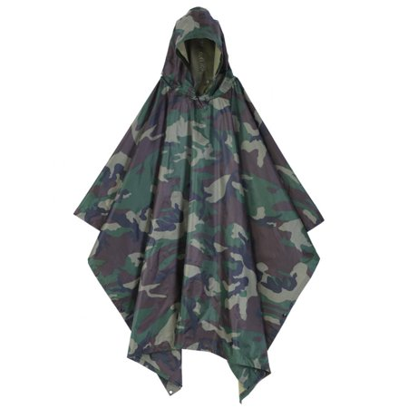 Waterproof Hooded Poncho Rip-Stop Festival Military Army Poncho Universal Camo