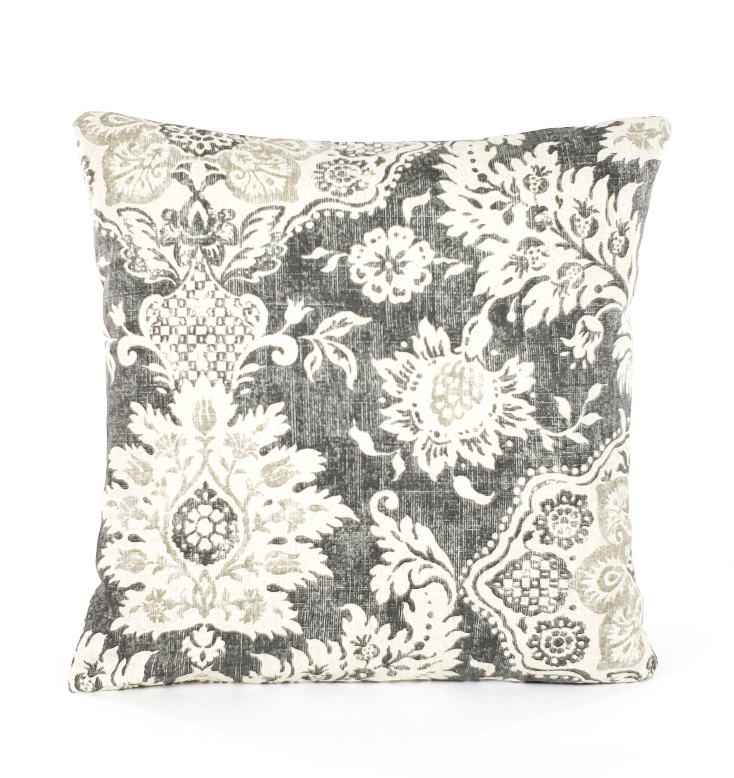 Gray Tan Floral Decorative Farmhouse Throw Pillow Covers Grey