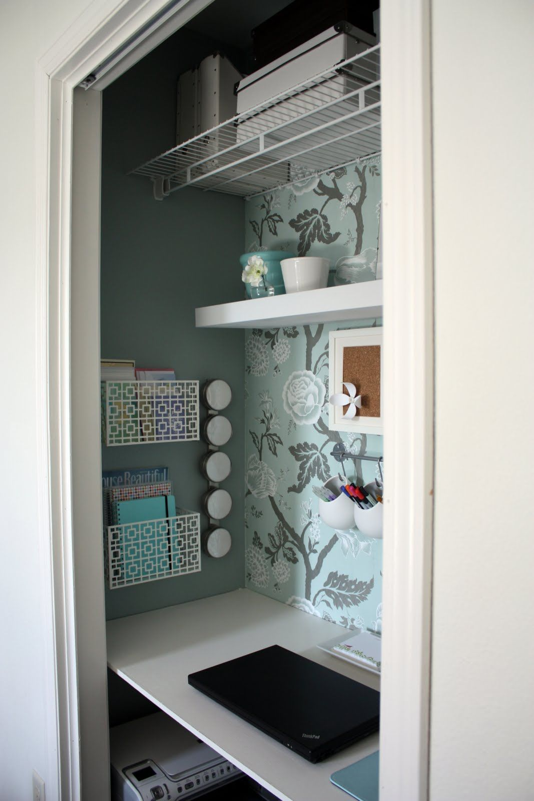 Remove The Door To The Inconvenient Living Room Closet And Make It Into A Office Closet Home Office Space Closet Desk Closet Office