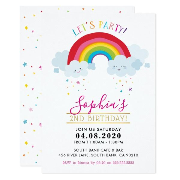 KIDS BIRTHDAY PARTY INVITE kawaii rainbow clouds   Zazzle com - Kids birthday party invitations, Birthday party invitations, Kids birthday party, Rainbow birthday party, Rainbow invitations, Kids invitations -  change background color hit the  customise it  button  2  You can also change the fonts and add more text!                                                      Love the design, but would like to see some changes  another color scheme, product, add a photo or adapted for a different occasion  no worries simply contact me, kat@simplysweetPAPERIE com  I am happy to help!