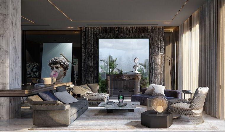 Lampadari moderni soggiorno dal design moderno, arredamento con due ...