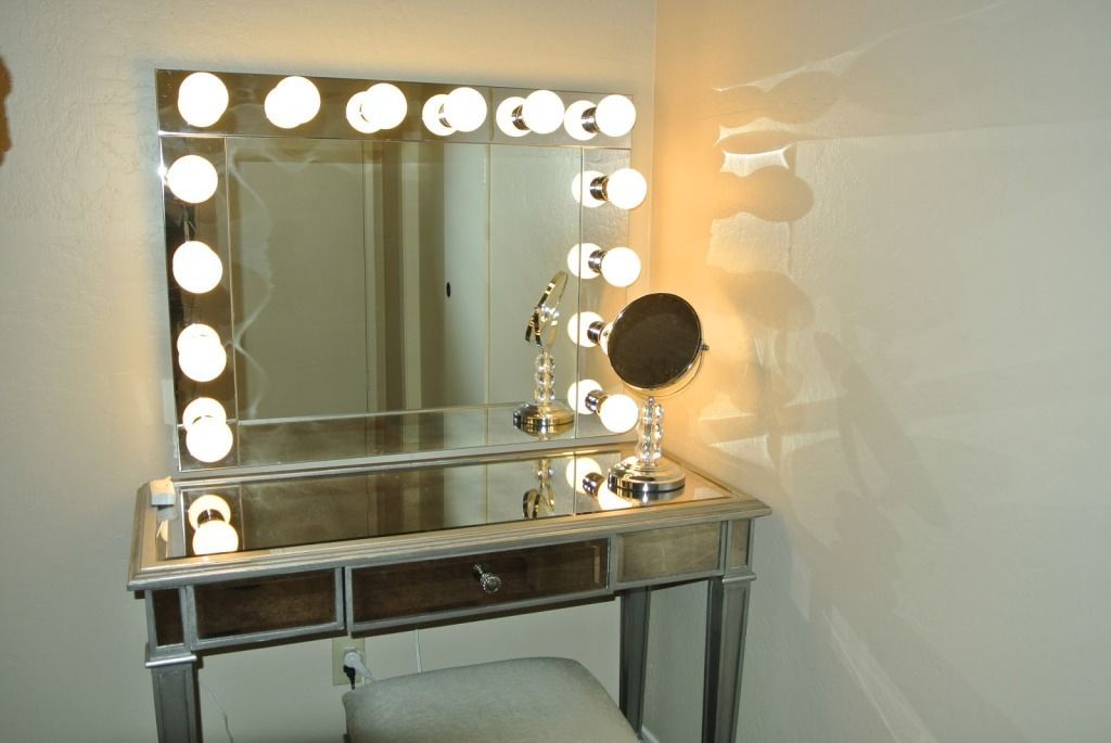 Furniture Lighted Makeup Table With Mirror And Bench Show Perfect Beauty In Maximum Way By Using Vanity Light