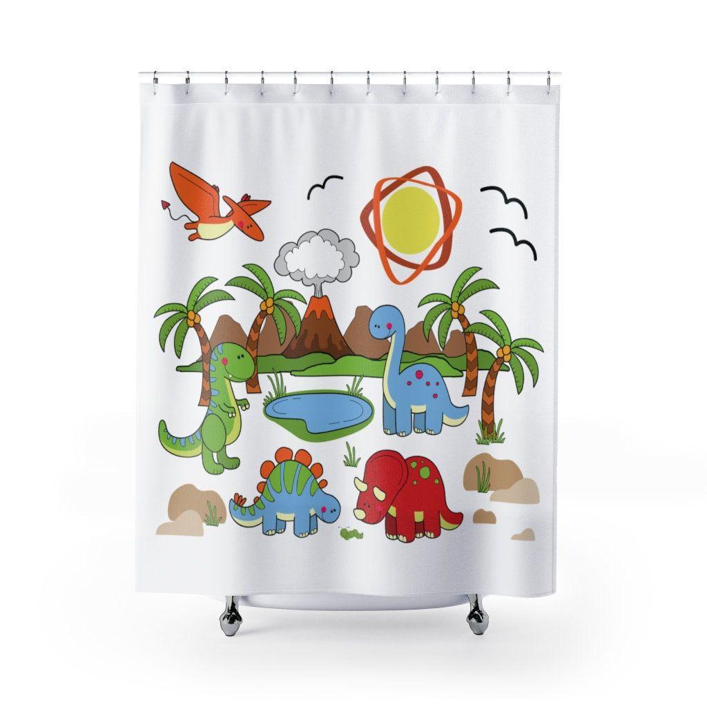 Dinosaur Shower Curtain Kids Bathroom Decor Etsy In 2020