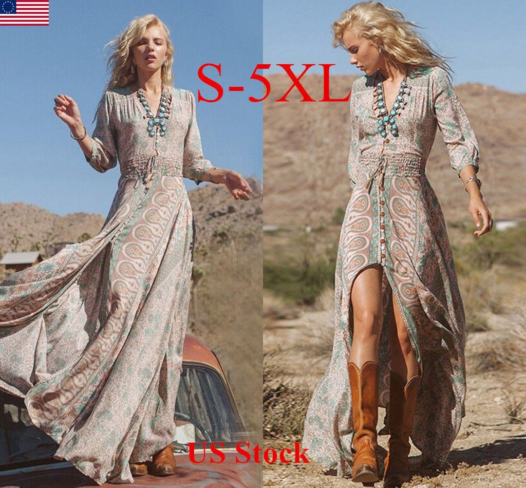 Nice great us stock womens plus size chiffon maxi dress boho long