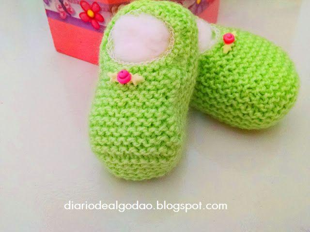 Diário de algodão : Sapatilha de tricô com elástico