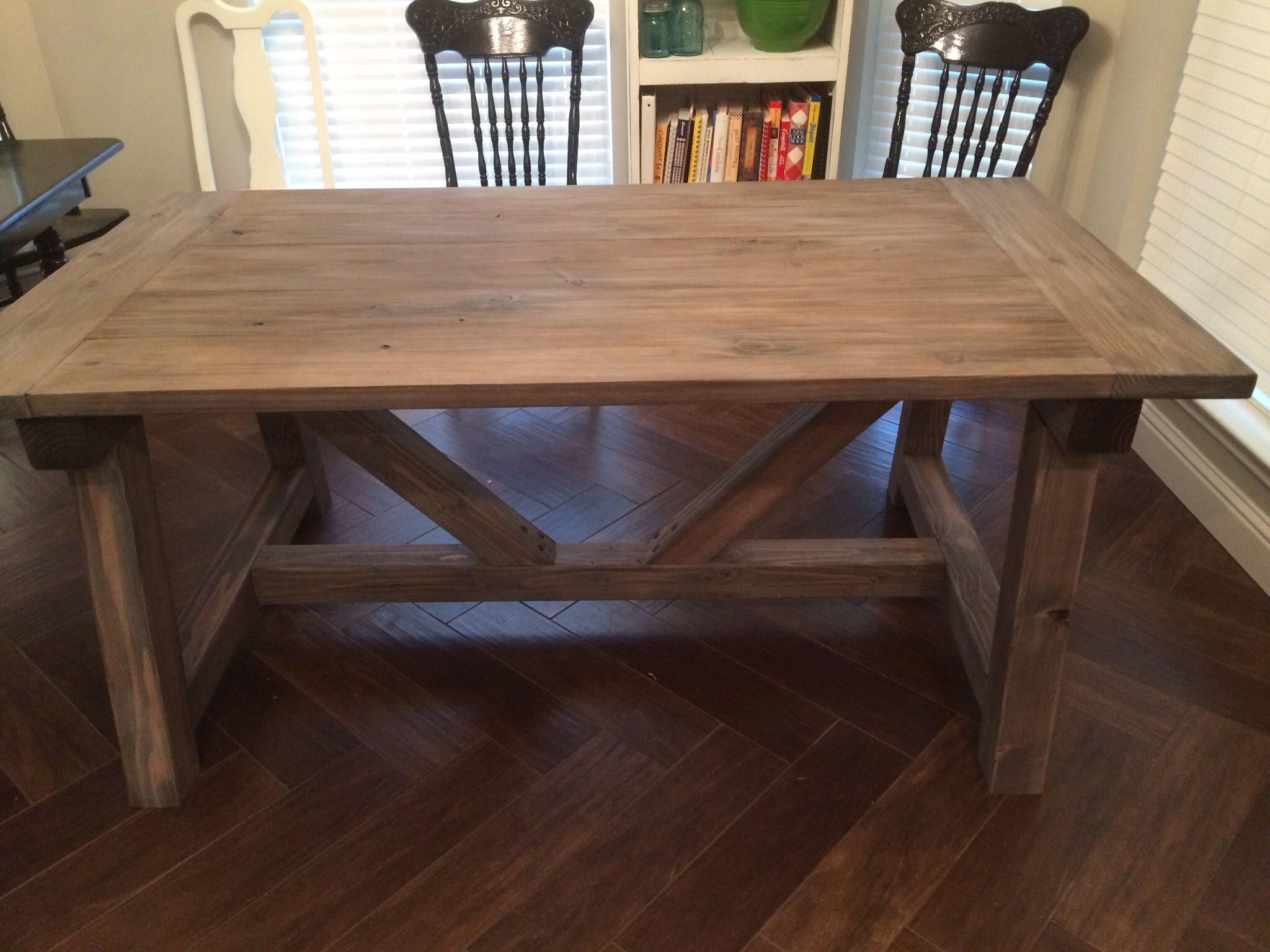 New Kitchen Table Made Of 2x8 2x10 And 4x4 S Finished With Dark Walnut Stain And Then White Washed Build A Table Commercial Style Kitchen Table