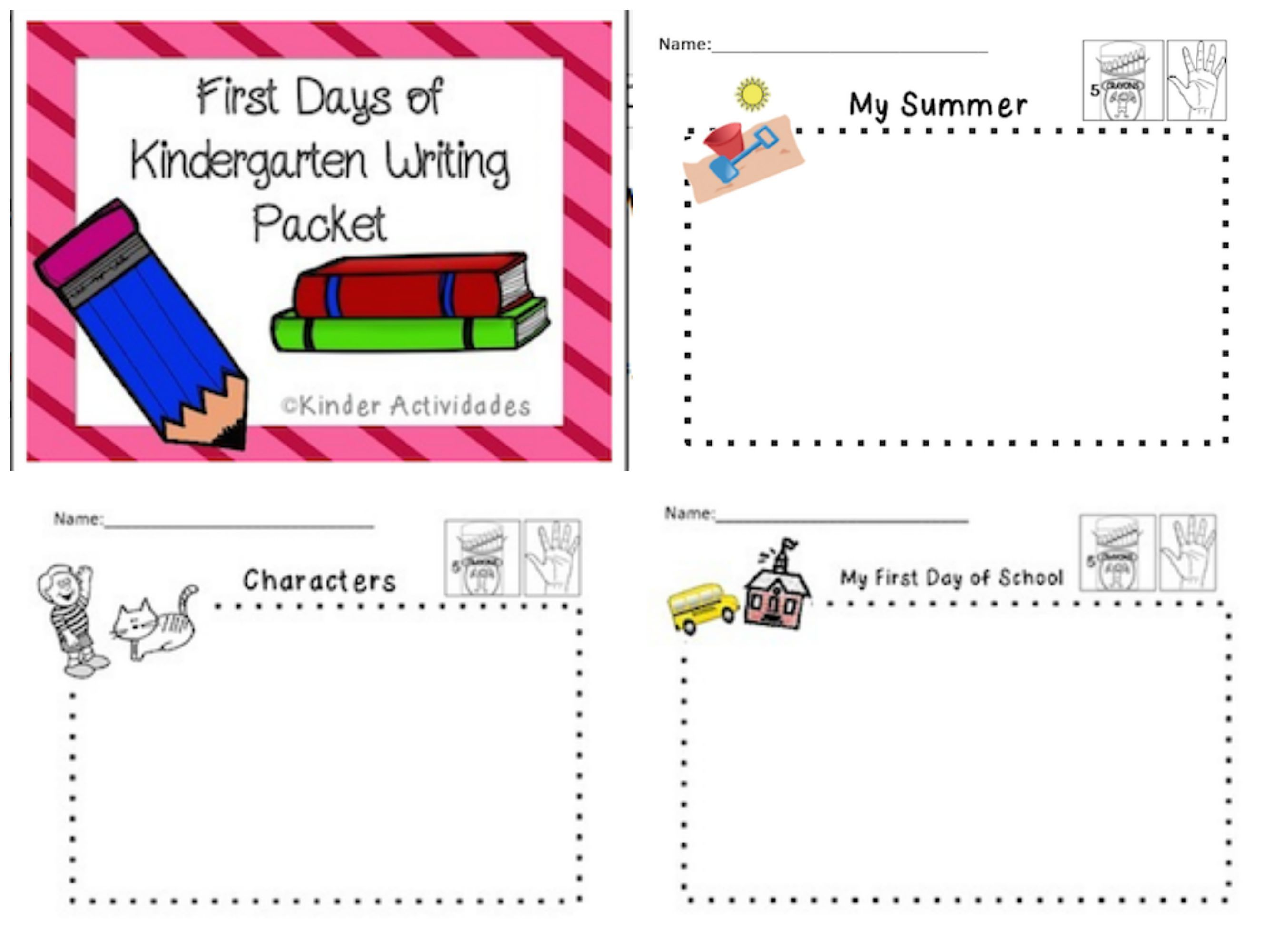 First Days Of Kindergarten Early Writing Packet