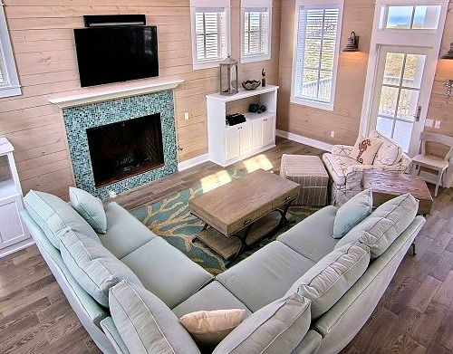 Blue Coral Rug In A Coastal Living Room. Featured On Completely Coastal.