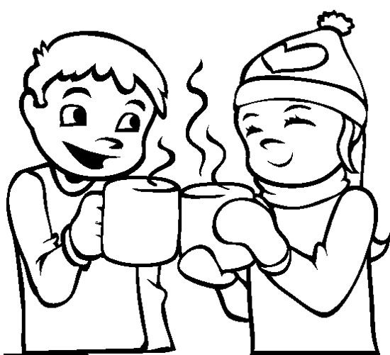 hot chocolate winter coloring page