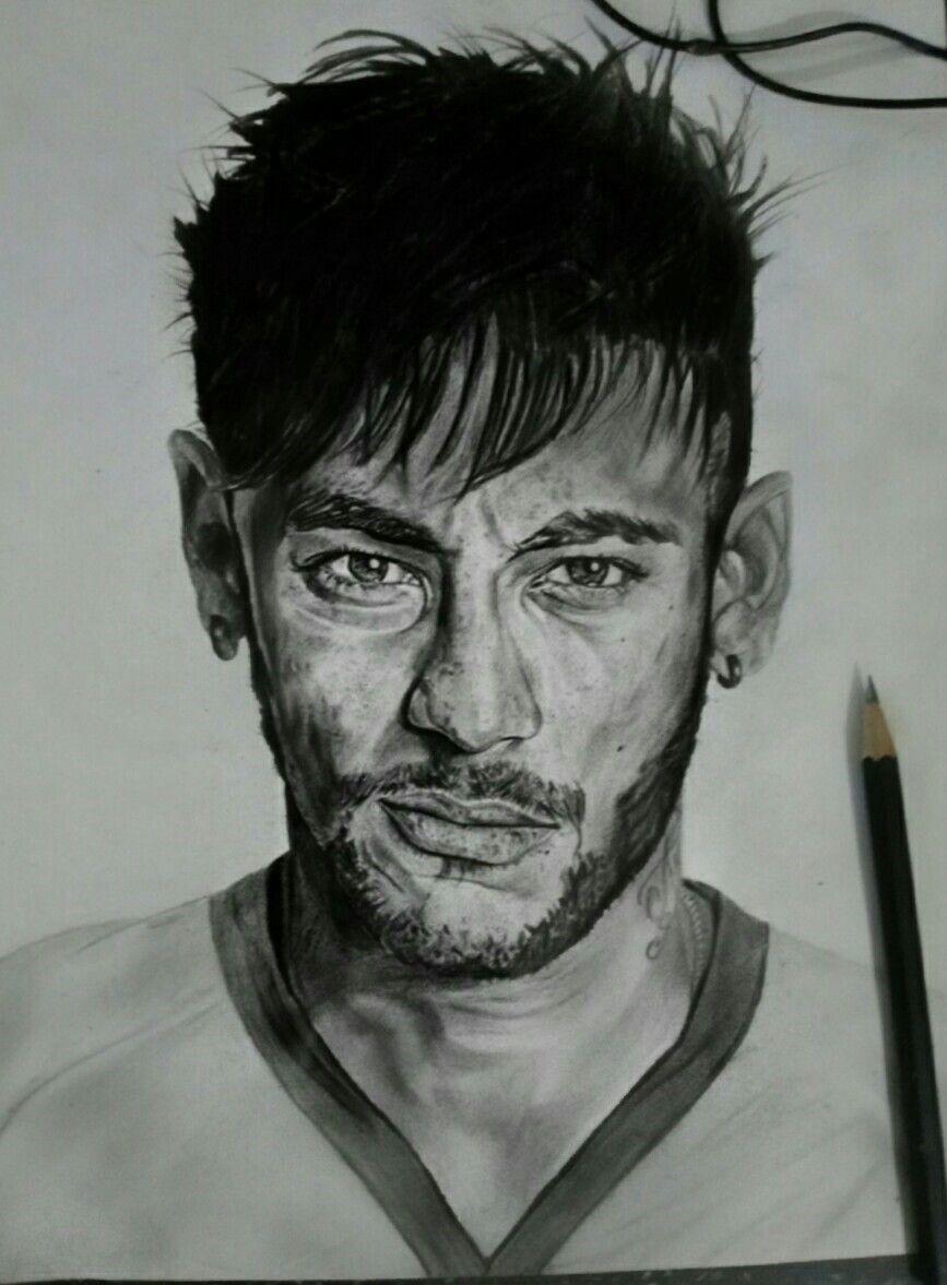 Neymar Face Pencil Drawing