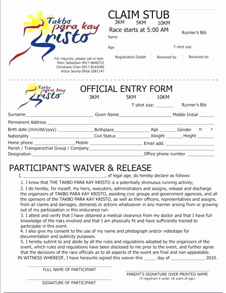 5k registration form template best of race registration
